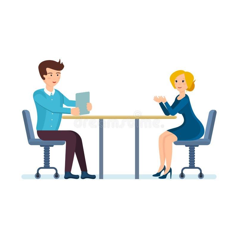 Download Kollegen Besprechen Sich, Fragen Arbeits Im Büro Und Sitzen Am  Schreibtisch Stockbild   Bild