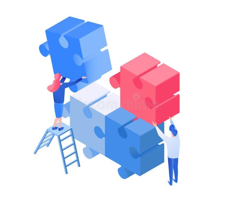 Kollegen, die, Team bearbeitet isometrische Illustration coworking sind lizenzfreie abbildung