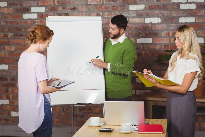 Kollegen, die während der Darstellung arbeiten lizenzfreies stockfoto