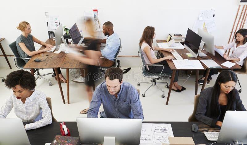 Kollegor på datorer i ett öppet plankontor, främre sikt arkivfoto
