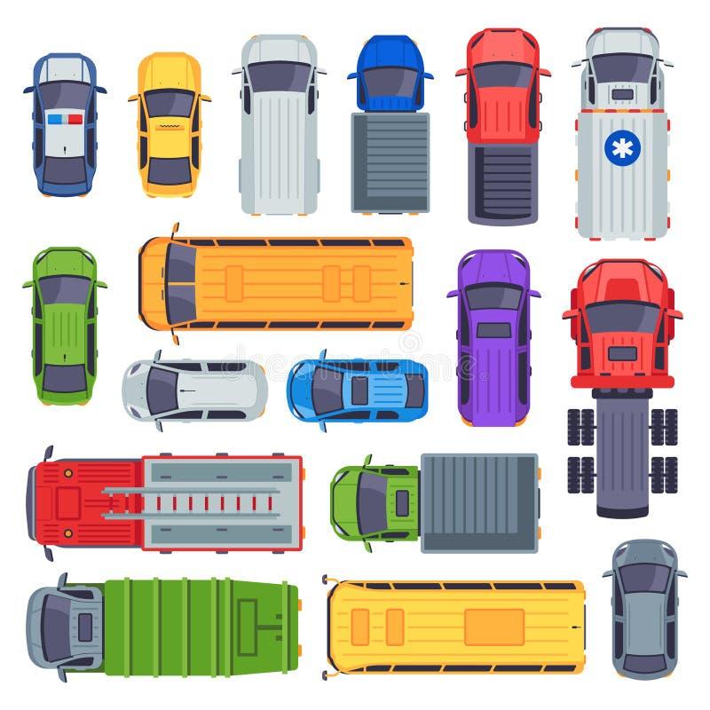 Kollektivtrafik för bästa sikt Taxibil, stadsbussar och ambulansmedel Vektor för motor för leveranslastbil, skolbuss- och brand royaltyfri illustrationer