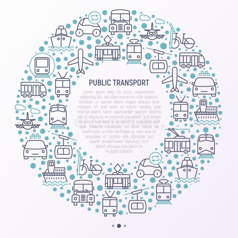 Kollektivtrafikbegrepp i cirkel royaltyfri illustrationer