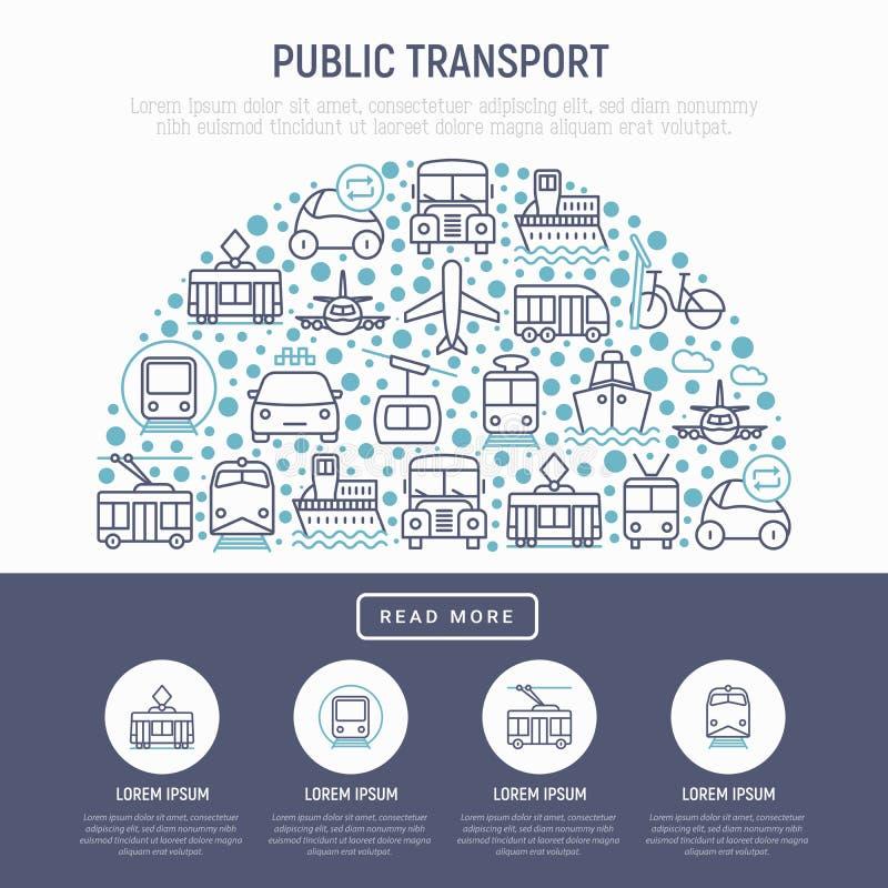 Kollektivtrafikbegrepp i halv cirkel stock illustrationer
