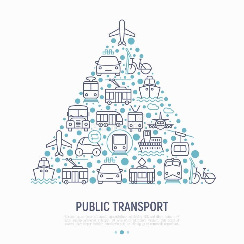 Kollektivtrafikbegrepp i triangel royaltyfri illustrationer