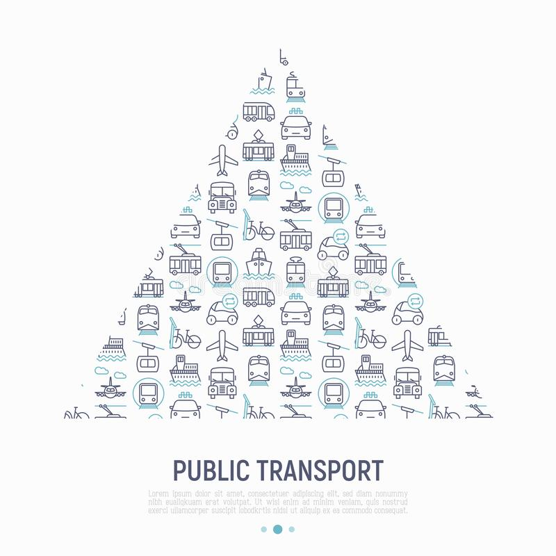 Kollektivtrafikbegrepp i triangel stock illustrationer