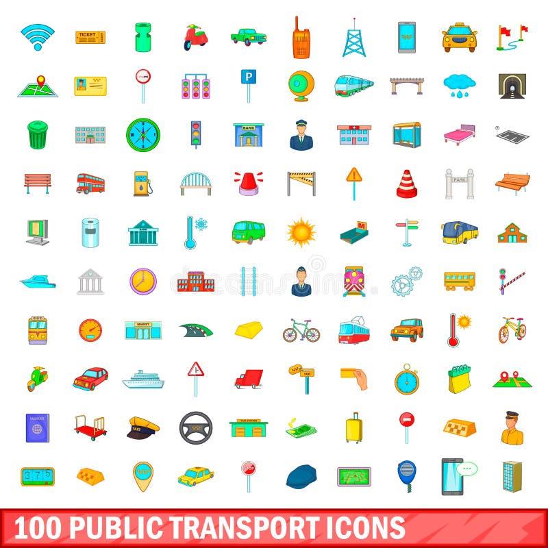100 kollektivtrafiksymboler uppsättning, tecknad filmstil stock illustrationer