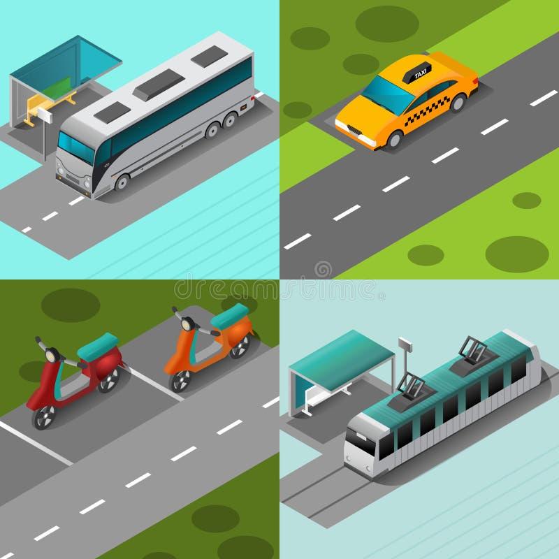 Kollektivtrafikuppsättning stock illustrationer