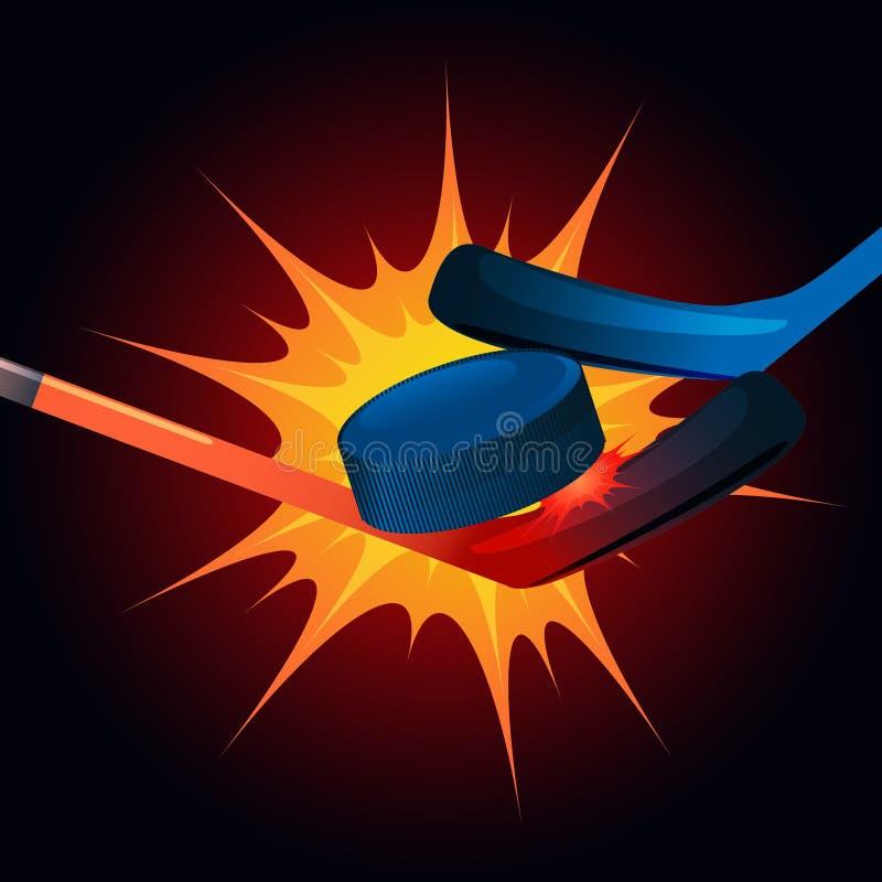 Kollidera apelsin- och blåtthockeypinnar med kurage på burs för en brand stock illustrationer