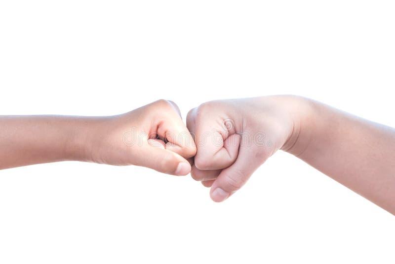 Kollidera för två händer arkivfoton
