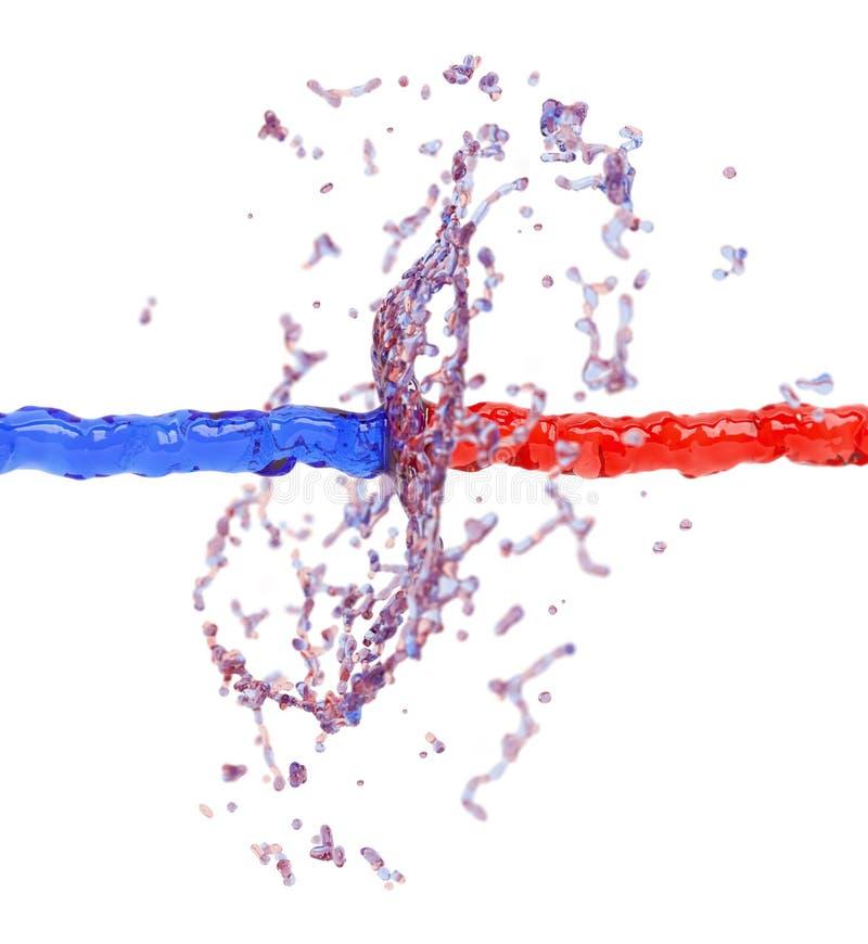 Kollidera för två vätskefärgstänk stock illustrationer