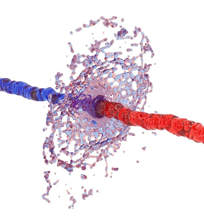 Kollidera för två vätskefärgstänk vektor illustrationer