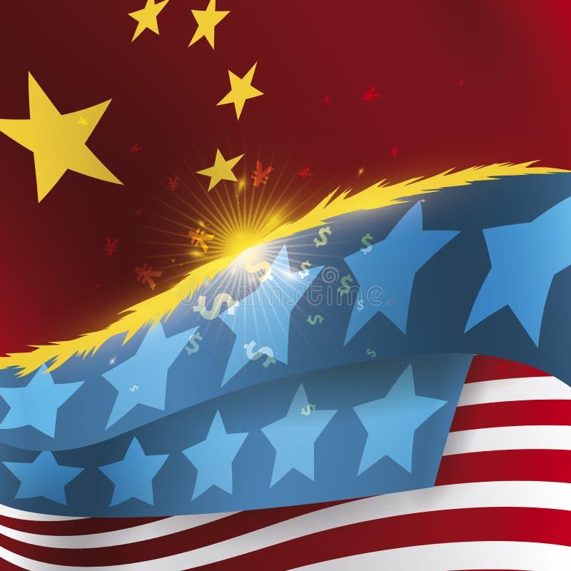 Kollidera U S A och Kina flaggor med det förfallna handelkriget för gnistor, vektorillustration vektor illustrationer