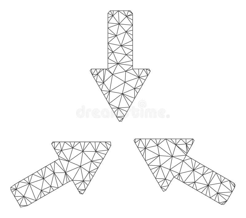 Kolliderar den Polygonal ramvektorn Mesh Illustration f?r 3 pilar stock illustrationer