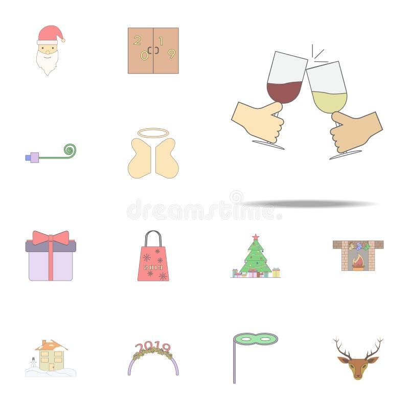 Kolliderar vinexponeringsglas med handen färgade symbolen Jul semestrar den universella uppsättningen för symboler för rengörings stock illustrationer