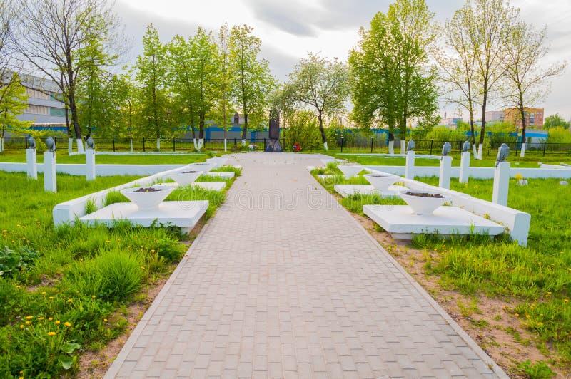 Kolmovo herdenkings militaire begraafplaats Veliky Novgorod, Rusland royalty-vrije stock afbeeldingen