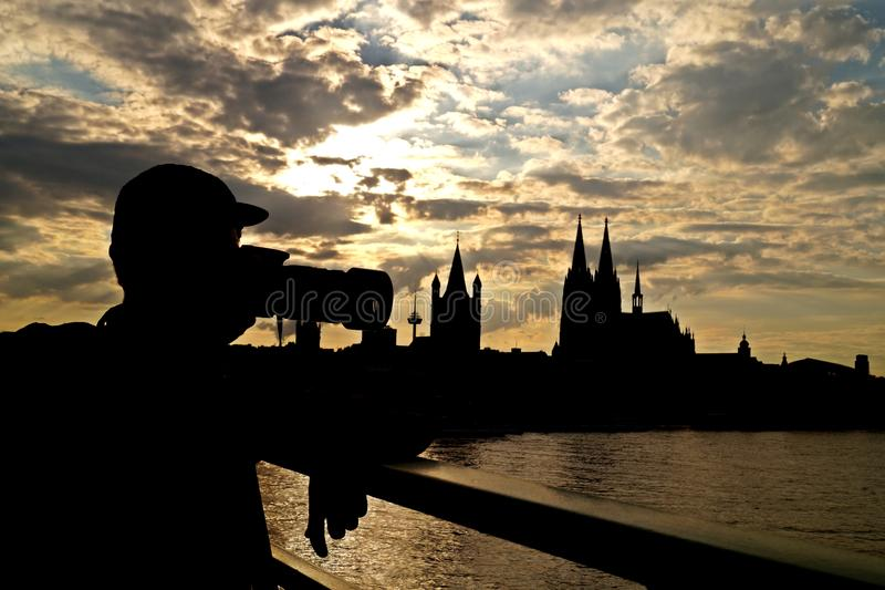 Koloński miasto w zmierzchu obrazy royalty free