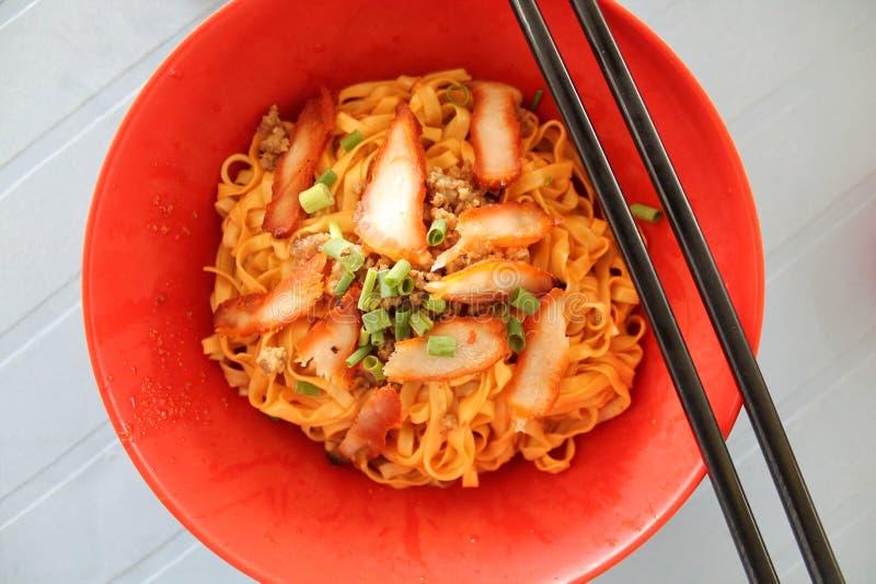 Kolo Mee red - popular sarawak street food royalty free stock images