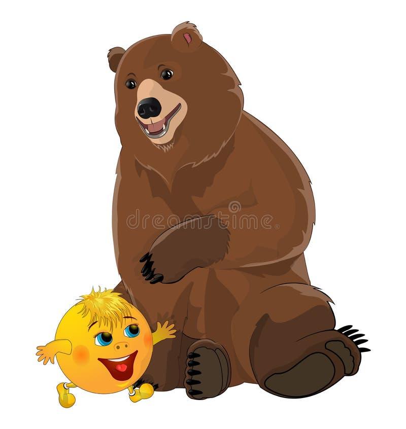 Kolobok y oso del bollo imagen de archivo