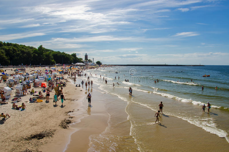 Kolobrzeg beach in summer royalty free stock images