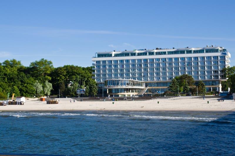 Kolobrzeg Polonia, punto di riferimento turistico dell'hotel di Baltyk immagine stock
