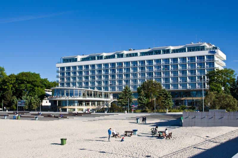Kolobrzeg Polonia, punto di riferimento turistico dell'hotel di Baltyk fotografie stock libere da diritti