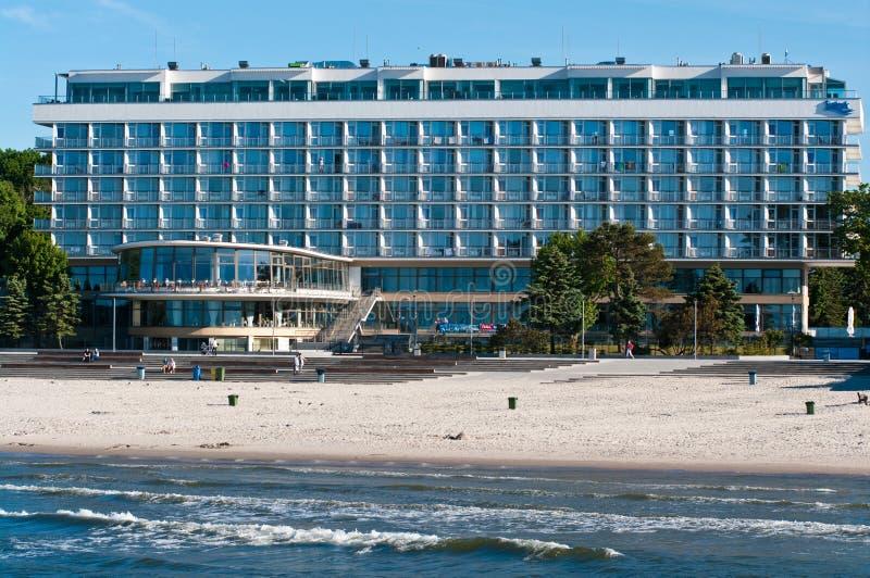 Kolobrzeg Polonia, punto di riferimento turistico dell'hotel di Baltyk fotografia stock