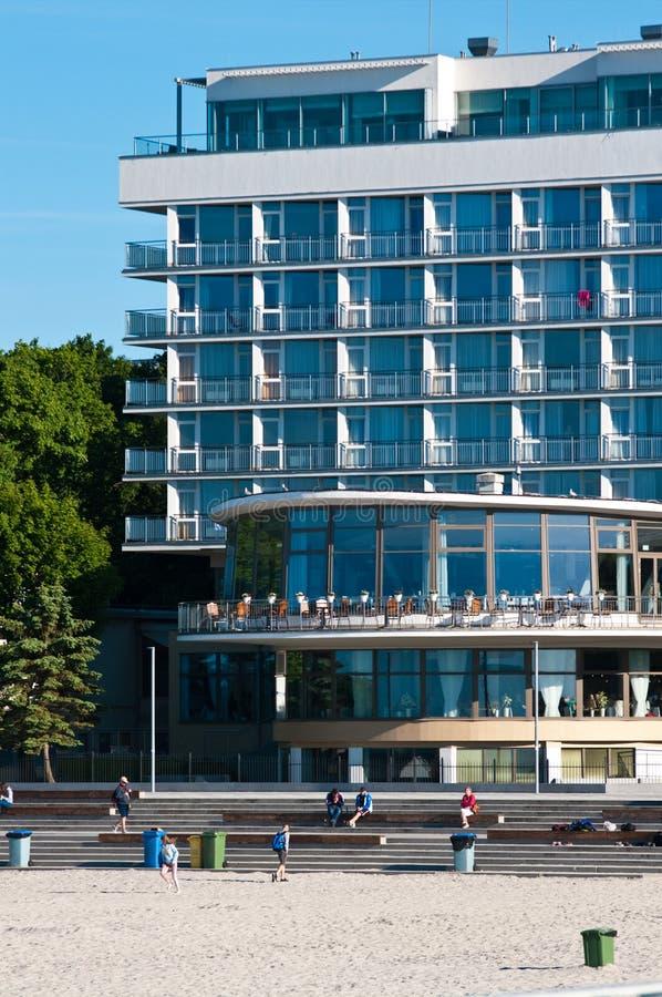 Kolobrzeg Polonia, punto di riferimento turistico dell'hotel di Baltyk fotografia stock libera da diritti