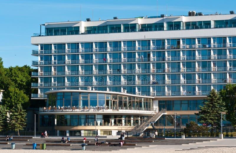 Kolobrzeg Polonia, punto di riferimento turistico dell'hotel di Baltyk immagini stock libere da diritti