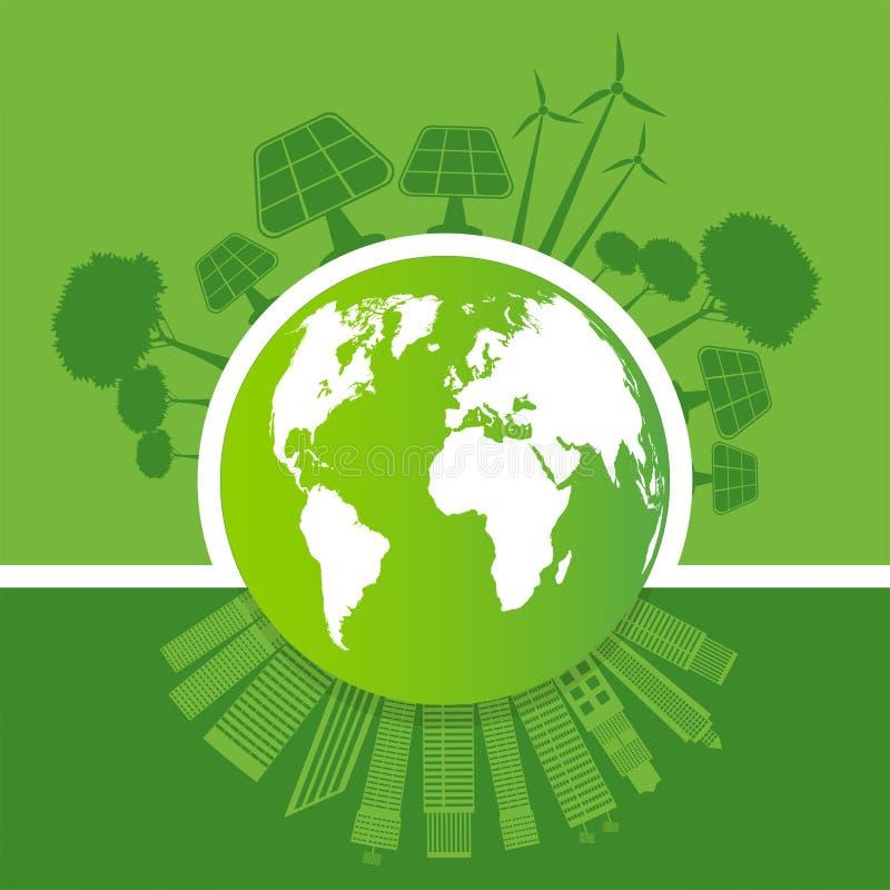 ?kologie und Klimakonzept, Erdsymbol mit gr?nen Bl?ttern um St?dte helfen der Welt mit umweltfreundlichen Ideen, Vektor stock abbildung