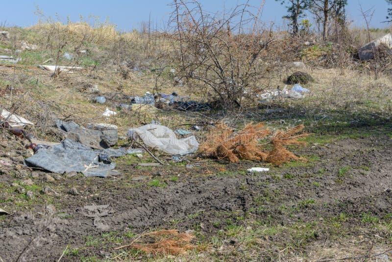 ?kologisches Krisenfoto Leute ließen Rückstand in den wild lebenden Tieren Müllkippe auf dem Gras nahe dem Waldverschmutzungsnatu lizenzfreie stockbilder