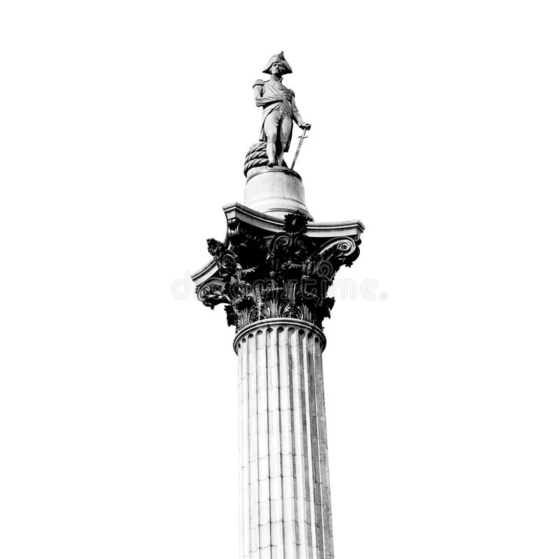 kolom in architectuur en de hemel van Londen de oude stock afbeelding