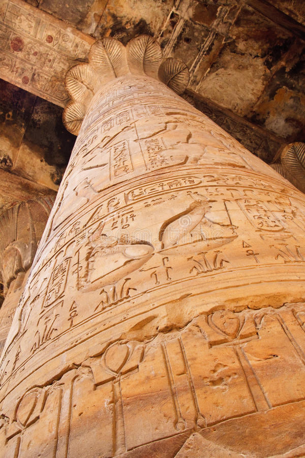 Kolom in de Tempel in Edfu stock fotografie
