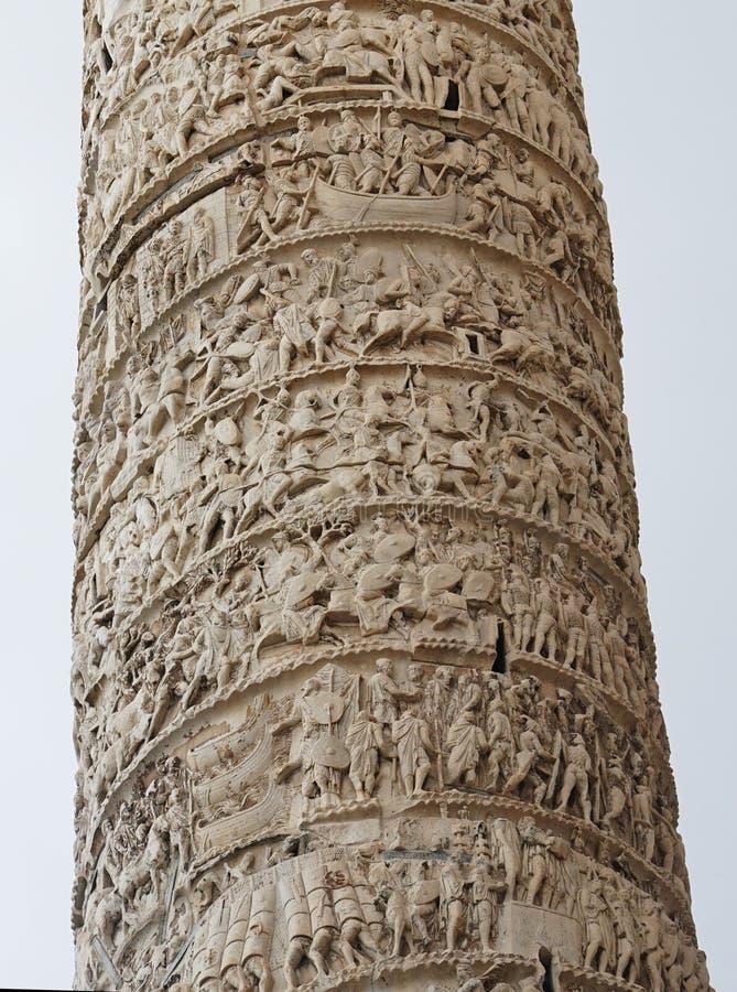 Kolom door Marcus Aurelius in Rome stock foto