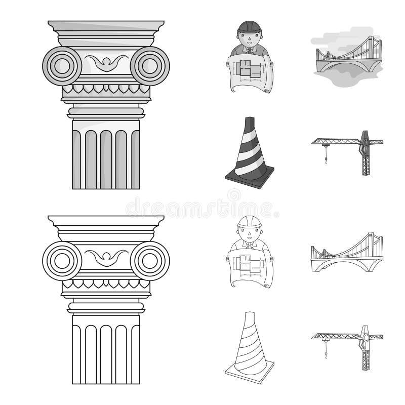 Kolom, meester met tekening, brug, indexkegel E royalty-vrije illustratie