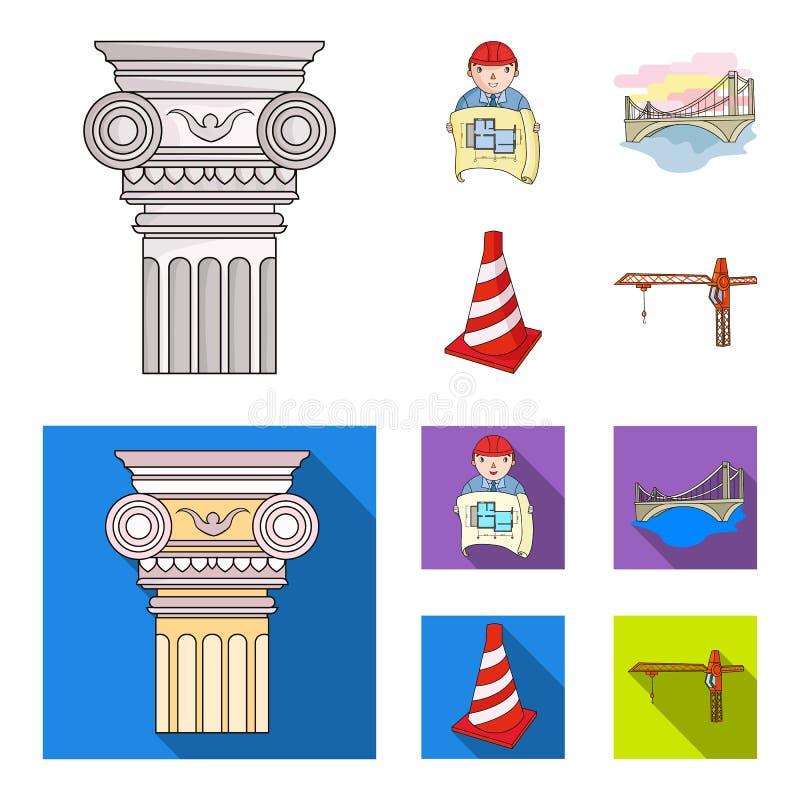 Kolom, meester met tekening, brug, indexkegel Pictogrammen van de architectuur de vastgestelde inzameling in beeldverhaal, vlak s stock illustratie