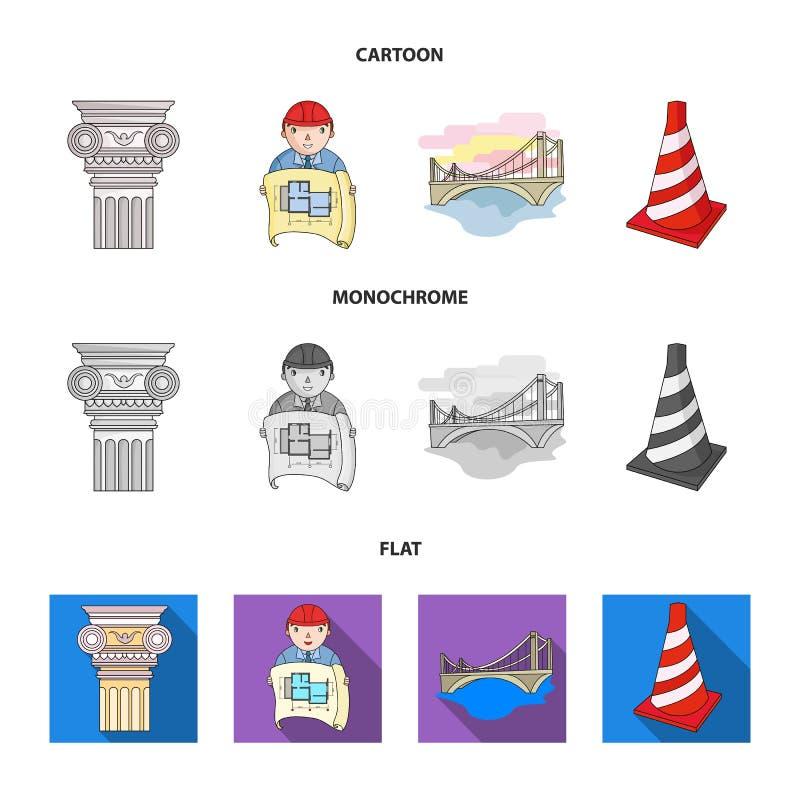 Kolom, meester met tekening, brug, indexkegel Pictogrammen van de architectuur de vastgestelde inzameling in beeldverhaal, vlakke vector illustratie