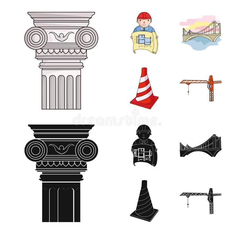 Kolom, meester met tekening, brug, indexkegel Pictogrammen van de architectuur de vastgestelde inzameling in beeldverhaal, zwart  stock illustratie