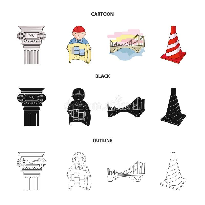 Kolom, meester met tekening, brug, indexkegel Pictogrammen van de architectuur de vastgestelde inzameling in beeldverhaal, zwarte royalty-vrije illustratie