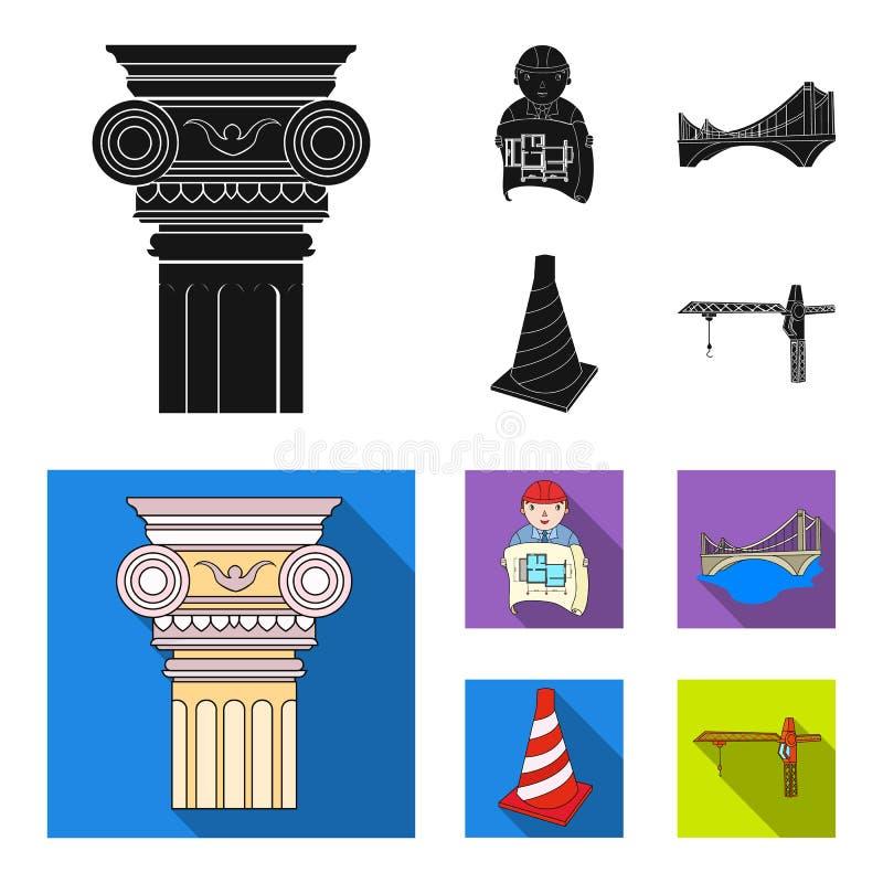 Kolom, meester met tekening, brug, indexkegel Pictogrammen van de architectuur de vastgestelde inzameling in zwart, vlak stijl ve royalty-vrije illustratie