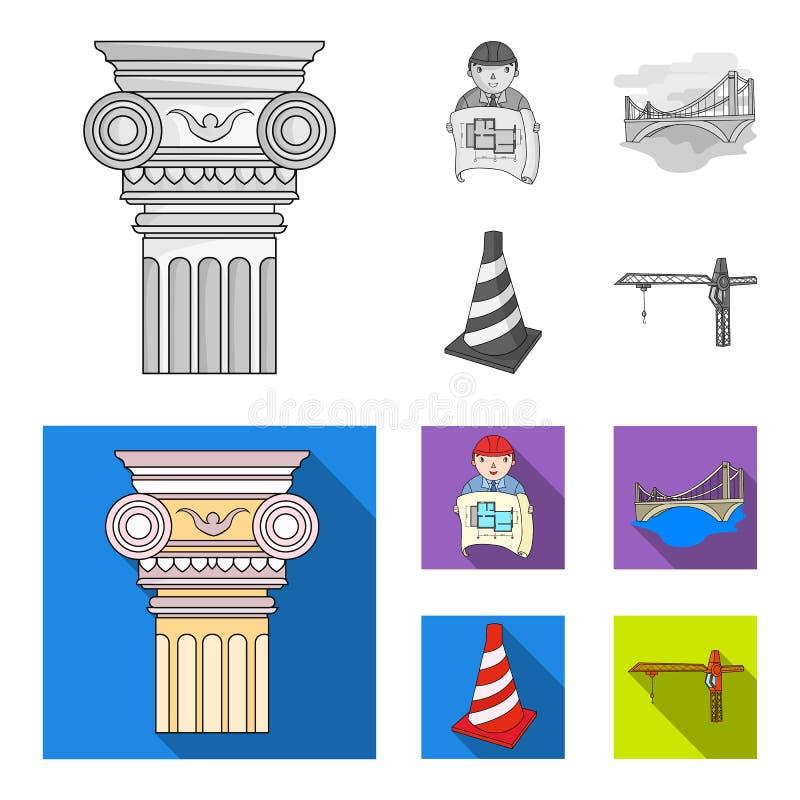 Kolom, meester met tekening, brug, indexkegel Pictogrammen van de architectuur de vastgestelde inzameling in zwart-wit, vlakke st royalty-vrije illustratie