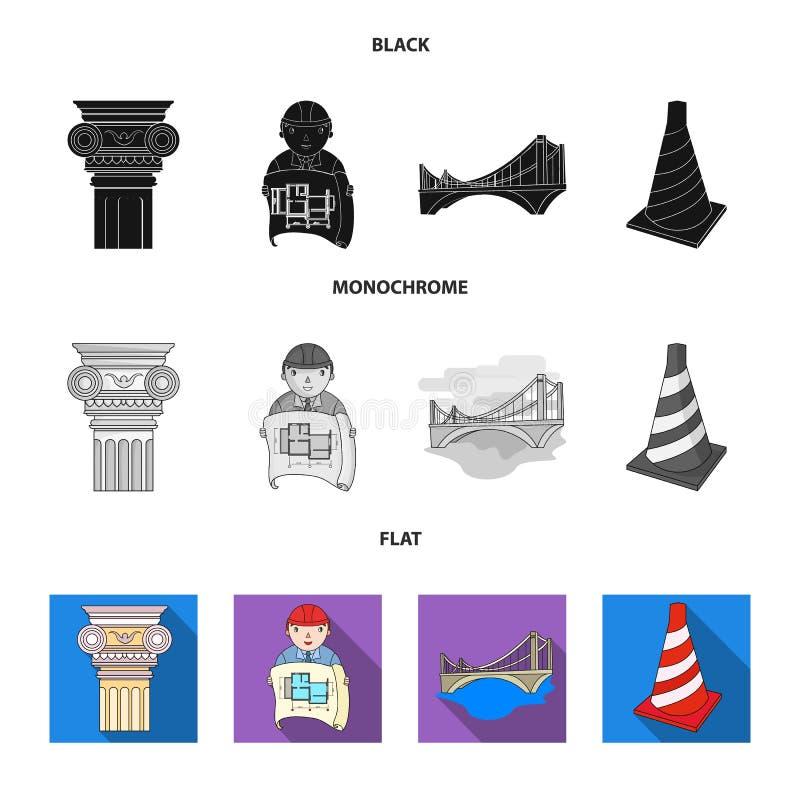 Kolom, meester met tekening, brug, indexkegel Pictogrammen van de architectuur de vastgestelde inzameling in zwarte, vlakke, zwar royalty-vrije illustratie