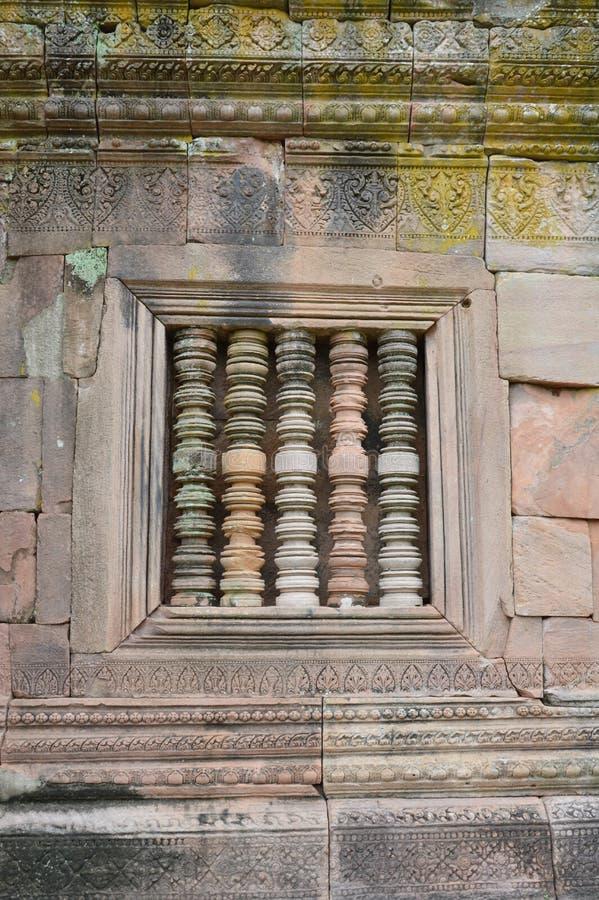 Kolom in Phanom-het kasteel van de Sportsteen in Thailand stock afbeeldingen