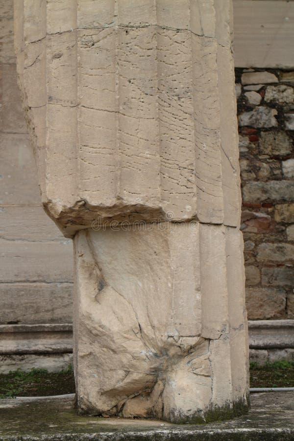 Kolom van Tempel van Hephaestus in Oud Agora van Athene royalty-vrije stock afbeeldingen