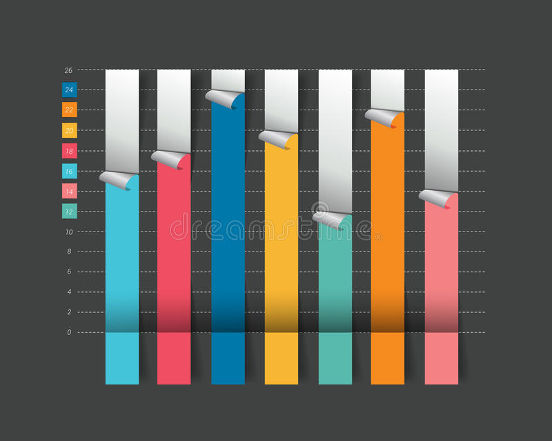 Kolom Vlakke grafiek, grafiek op zwarte kleur royalty-vrije illustratie