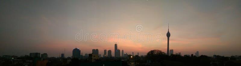 Kolombo miasto przy półmrokiem zdjęcia royalty free