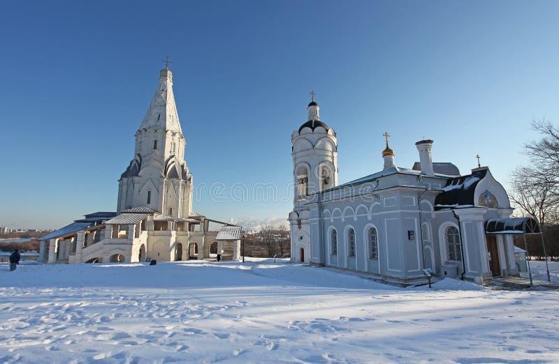 Kolomenskoye在冬天,莫斯科 库存照片
