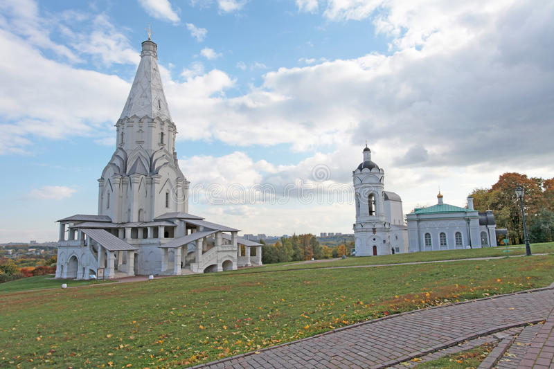 Kolomenskoye, Moscow. Church of the Ascension, St. George Church and Belltowe. Church of the Ascension, St. George Church and Belltower in Kolomenskoye, Moscow royalty free stock images