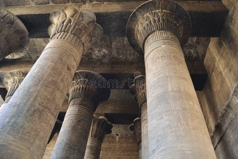 Kolommen bij een oude Egyptische tempel stock afbeeldingen