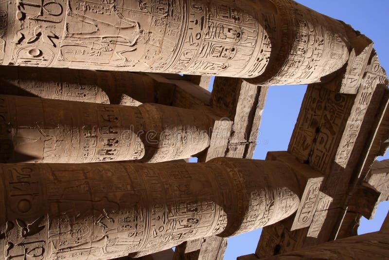 Kolommen in Karnak Egypte stock fotografie