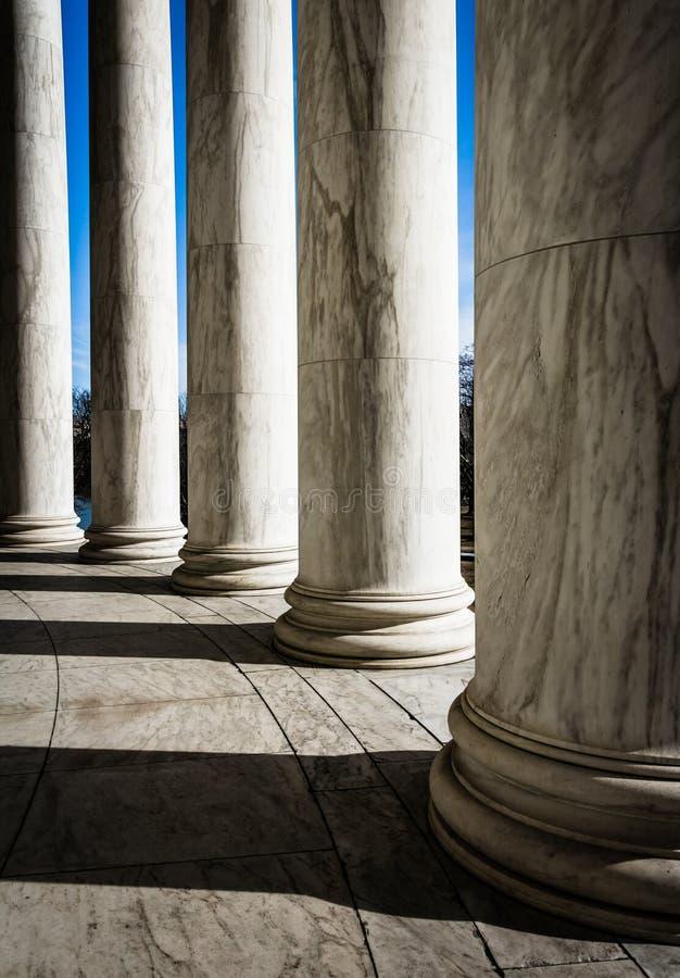Kolommen in Thomas Jefferson Memorial, Washington, gelijkstroom royalty-vrije stock fotografie